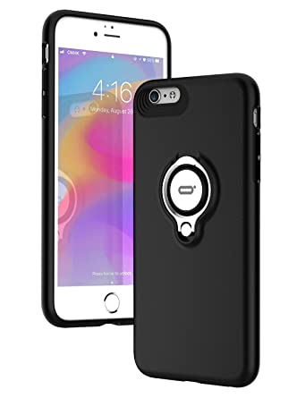 new product dff6c 79fe1 iPhone 6s Case, iPhone 6 case with Ring Kickstand by ICONFLANG, 360 Degree  Rotating Ring Grip Case, Dual Layer Shockproof Impact Protection Case for  ...