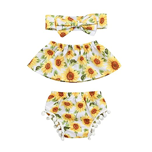 b27522e0a535 Newborn Infant Toddler Baby Girls Floral Summer Outfits Clothes Cuekondy Sunflower  Off Shoulder Tops+Shorts