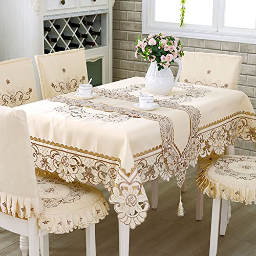 HOLY HOME Christmas Tablecloth 100% Polyester Embroidery Lace Rose Pastoral Cloth Art Home Décor Gray/Beige -