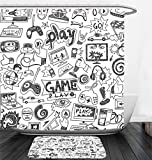 Nalahome Bath Suit: Showercurtain Bathrug Bathtowel Handtowel Video Games Black and White Sketch Style Gaming Design Racing Monitor Device Gadget Teen 90s Blak White