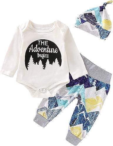 Mioliknya Newborn Baby Boy Girl The Adventure Begins Letter Print Romper Bodysuit+Long Pants Hat 3PCS Outfits Set