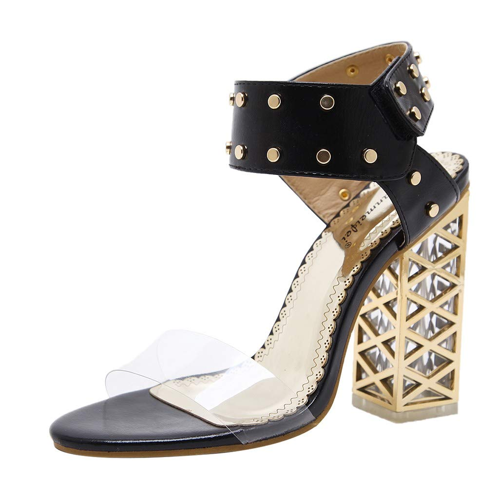 Women's Chunky Heel Sandals,Ladies Summer Ankle Straps Transparent High-Heels Open Toe Sandal