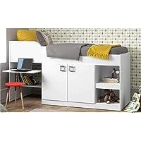 Cama Infantil com Escrivaninha 2 Portas e Nichos Multimóveis Branco Premium