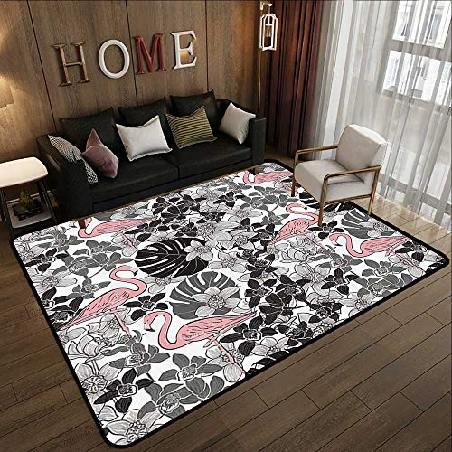 Printed Carpet,Flamingo Decor Collection,A Pair of Flamingos Pattern with Big Leaves Flowers Tropical Plants on The Background,Black Wh 35
