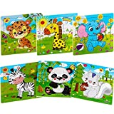 Aitey Wooden Jigsaw Puzzles for Kids Ages 2-4 Toddler Puzzles 9 Pieces Preschool Educational Learning Toys Set Animals Puzzles for 2 3 4 Years Old Boys and Girls (6 Puzzles)