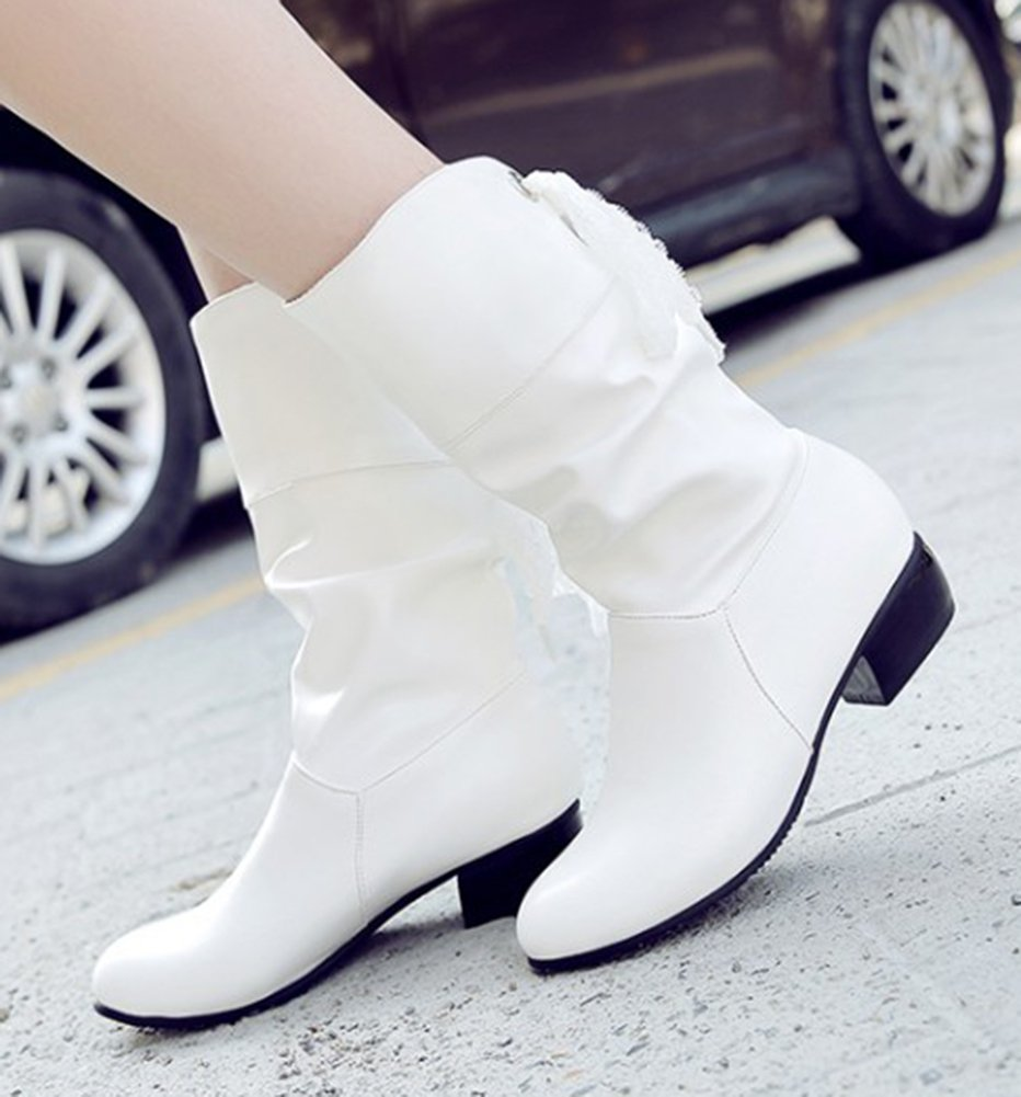 Aisun Women's Casual Laces Round Toe Ruched Pull On Block Low Heel Mid Calf Slouchy Boots (White, 8.5 B(M) US) by Aisun (Image #4)