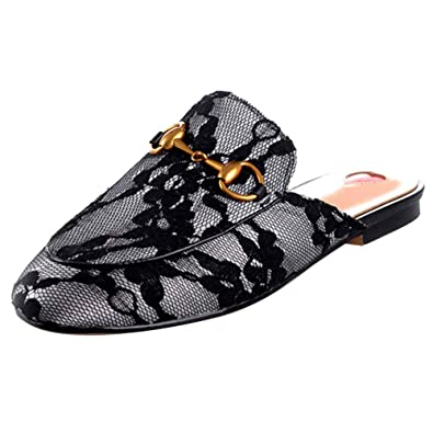 26054eea9434 GEEDIAR Women's Leather Mules Flats Shoes Pointed Toe Backless Slipper Slip  On Embroidered Loafer Shoes with