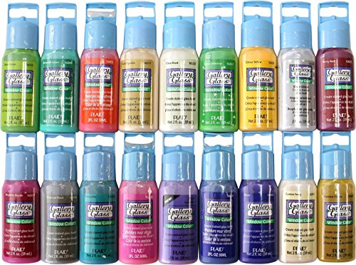 Glass Stain Paint (Plaid Gallery Glass Window Color Paint Set (2-Ounce), PROMOGGII Best Selling Colors II)