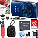 Canon PowerShot ELPH 190 IS Digital Camera with 10x Optical Zoom (Blue) + 32GB Deluxe Accessory Bundle