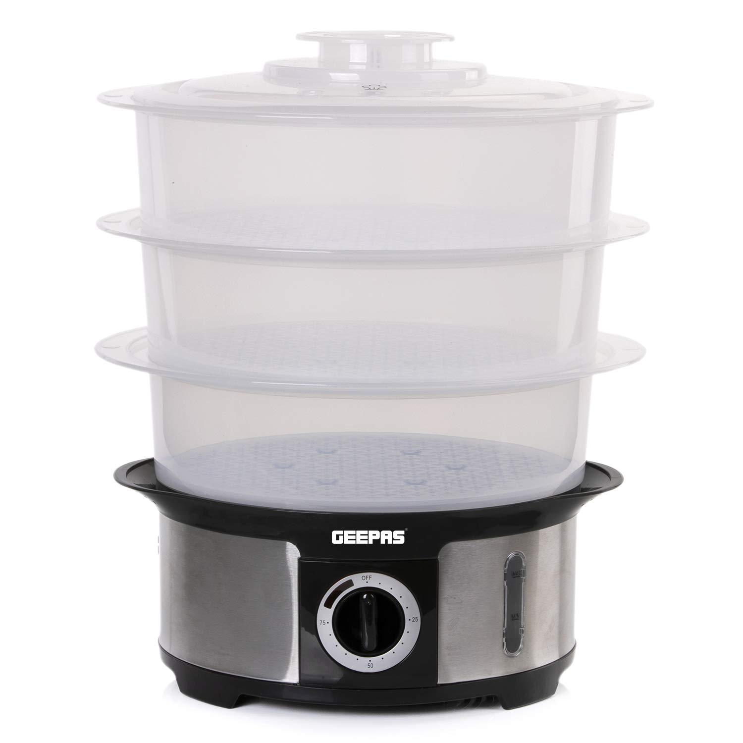 Geepas 1000W Electric Food Steamers 3 Tier for General Use, 12L Capacity, Stainless Steel - an Excellent Assistant in The Cooking of Healthy and Delicious Dishes – 2 Year Warranty