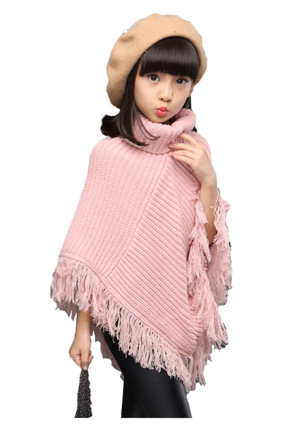 Fankeshi Girls High Neck Knitted Poncho Tassel Draped Cloak Coat Cape Sweater (Pink, 11-13 Years)