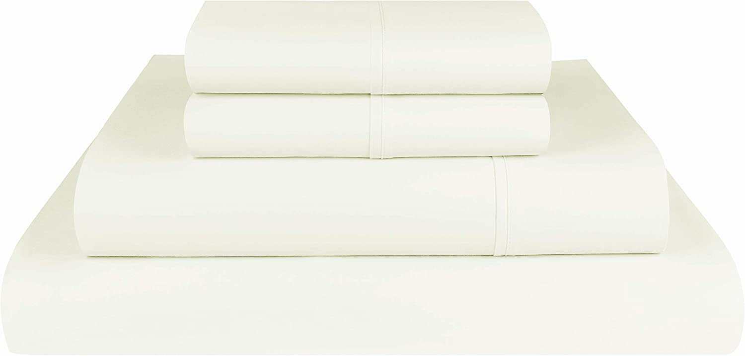 Threadmill Home Linen 1200 Thread Count 100% Supima ELS Cotton Sheet Set, King Sheet, Super Luxury Bedding, King 4 Piece Set, Ivory, Smooth Sateen Weave.