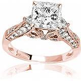 Amazon.com: Conjunto de anillo de compromiso de oro blanco ...