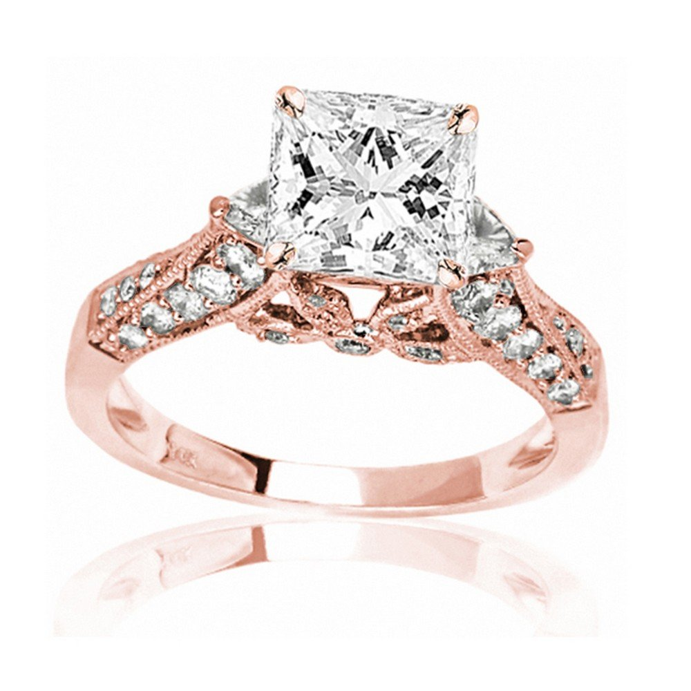 1.38 Carat t.w. GIA Certified Princess Cut 14K Rose Gold Trillian and Round Diamond Engagment Ring (D-E Color VVS1-VVS2 Clarity Center Stones) by Houston Diamond District