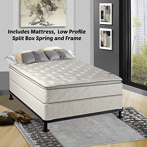 Continental Matress Mattress, 10-Inch Fully Assembled Pillow Top Orthopedic Mattress and 5-inch Split Box Spring with Frame , Full by Continental Mattress