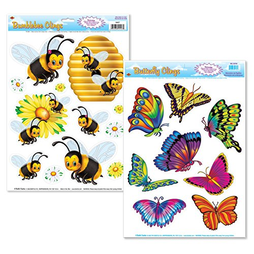FAKKOS Design Bug Insect Window Film Decorations - 2 Sheets - Butterfly, - Window Bumble Bee