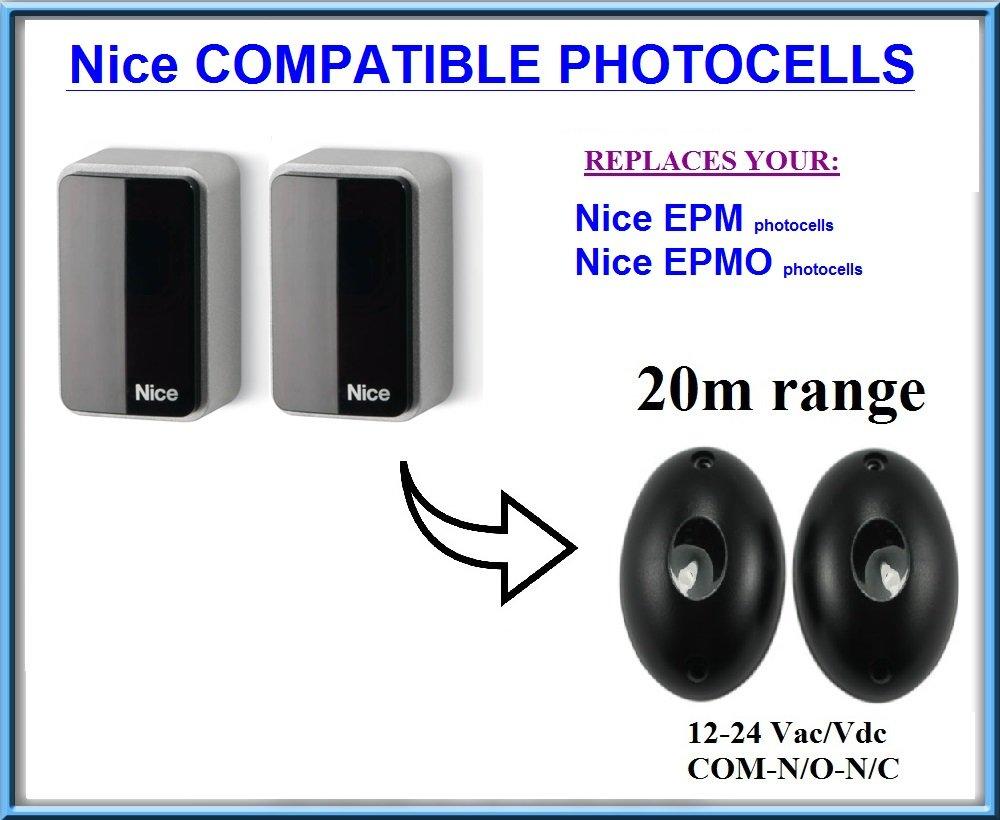 Nice EPM // Nice EPMO compatible infrarouge photocellules Universel capteur de s/écurit/é avec plage de fonctionnement 20m!!! N.C-COM-N.O 12-24V