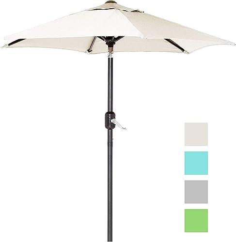 6 Ft Outdoor Patio Umbrella with Aluminum Pole, Easy Open Close Crank and Push Button Tilt Adjustment – Beige Market Umbrellas