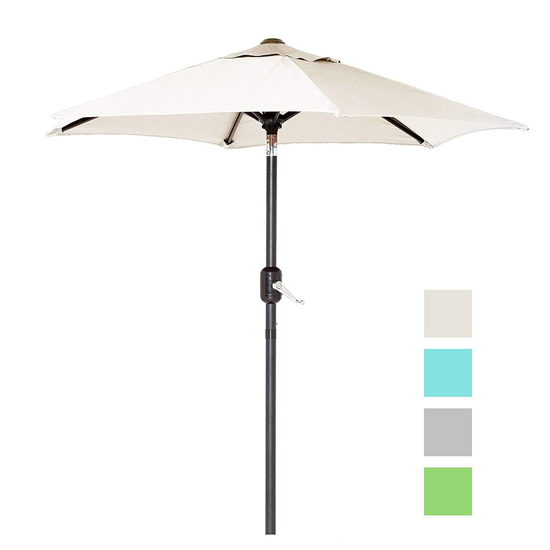 6 Ft Outdoor Patio Umbrella with Aluminum Pole, Easy Open/Close Crank and Push Button Tilt Adjustment - Beige Market Umbrellas