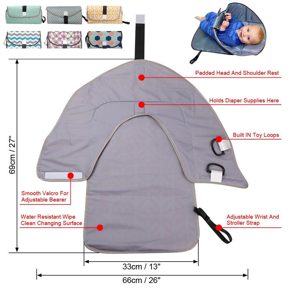 Yellow Wocharm Waterproof Baby Diaper Changing Mat Travel Home Change Pad 3-in-1 Bags