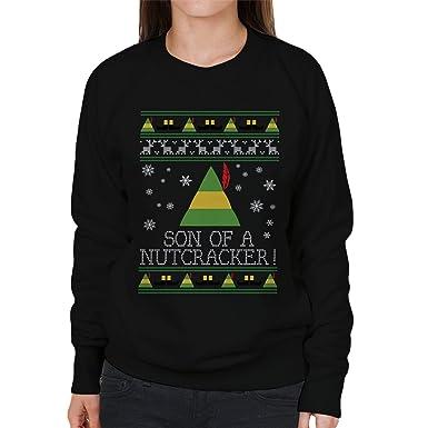 Son Of A Nutcracker Elf Quote Christmas Knit Womens Sweatshirt