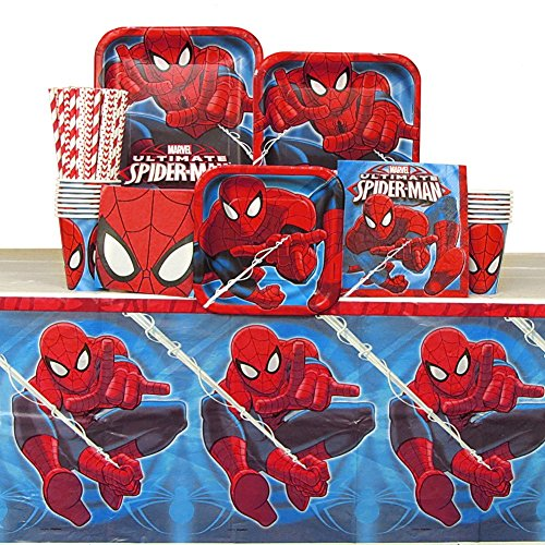 Spiderman Party Pack for 16 Guests: Straws, Plates, Napkins, Cups, and Table Cover (Bundle for 16)