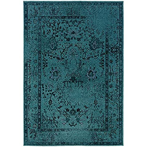 Vintage Inspired Rug, Teal Overdyed Distressed Non-Shed Stain Resistant Carpet, 7' 10