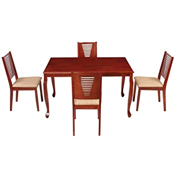 Woodness Vivian 28013+28008 4 Seater Dining Table Set (Matte Finish, Mahogany)