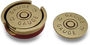 Four Piece 12 Gauge Shotgun Shell Coaster Set W/Base