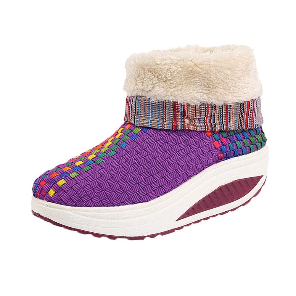 MYMYG Damen Freizeit Keep Warm Weaving Round Toe Flache Schuhe Rutschfeste Schneeschuhe Kurzschaft Ankle Boots Flache Freizeitschuhe MYMYG-311058WOMEN
