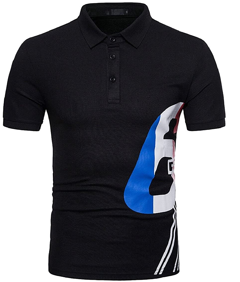 Qiangjinjiu Mens Lapel Short Sleeve Printed Fashion Casual Polo Shirt Tee