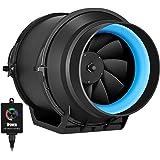 iPower GLFANXINLINEEXPC6 6 Inch 350 CFM Inline Duct Fan with Variable Speed Controller Ventilation, Quiet HVAC Exhaust Blower