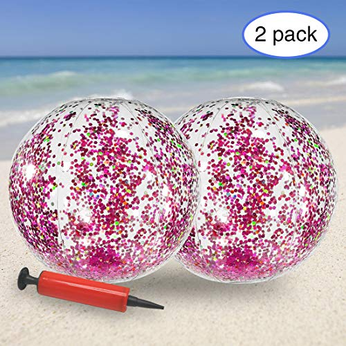 - KOMIWOO Inflatable Beach Ball-Glitter Beach Ball 24inch, Rose Confetti Beach Ball Pool Toys for Kids Summer Party(2pack, Rose Gold Glitter)
