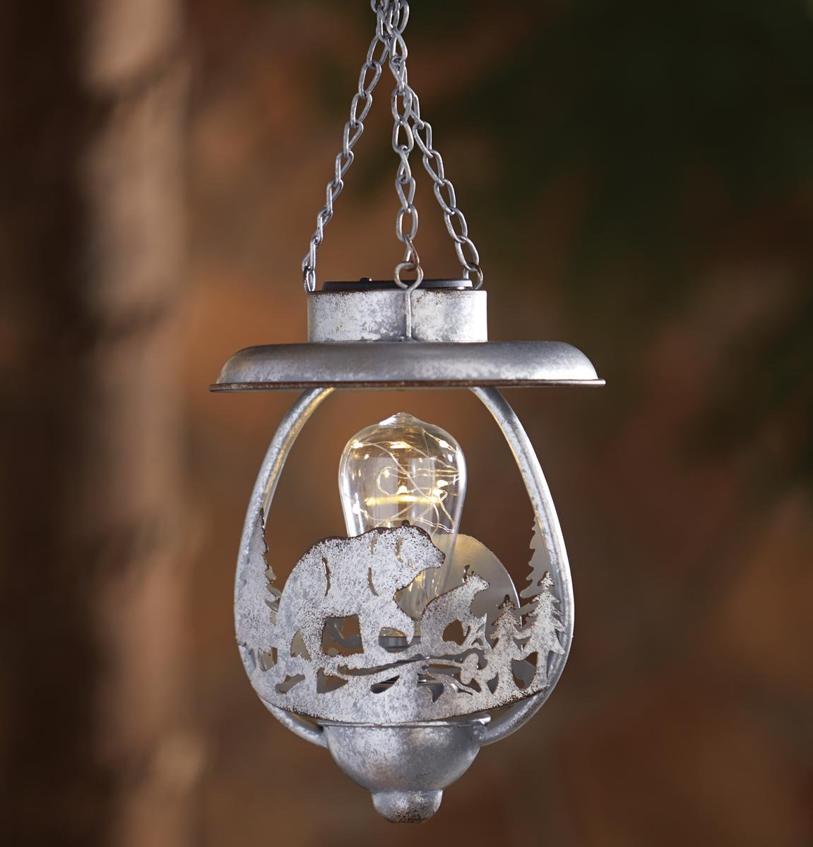 Black Forest Decor Walking Bear Hanging LED Solar Lantern - CLEARANCE