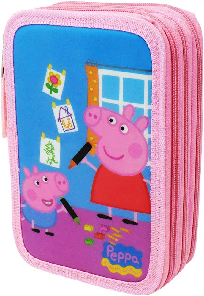 Estuche Peppa Pig Con Tres Compartimentos. Color Rosa.44 Piezas: Amazon.es: Oficina y papelería