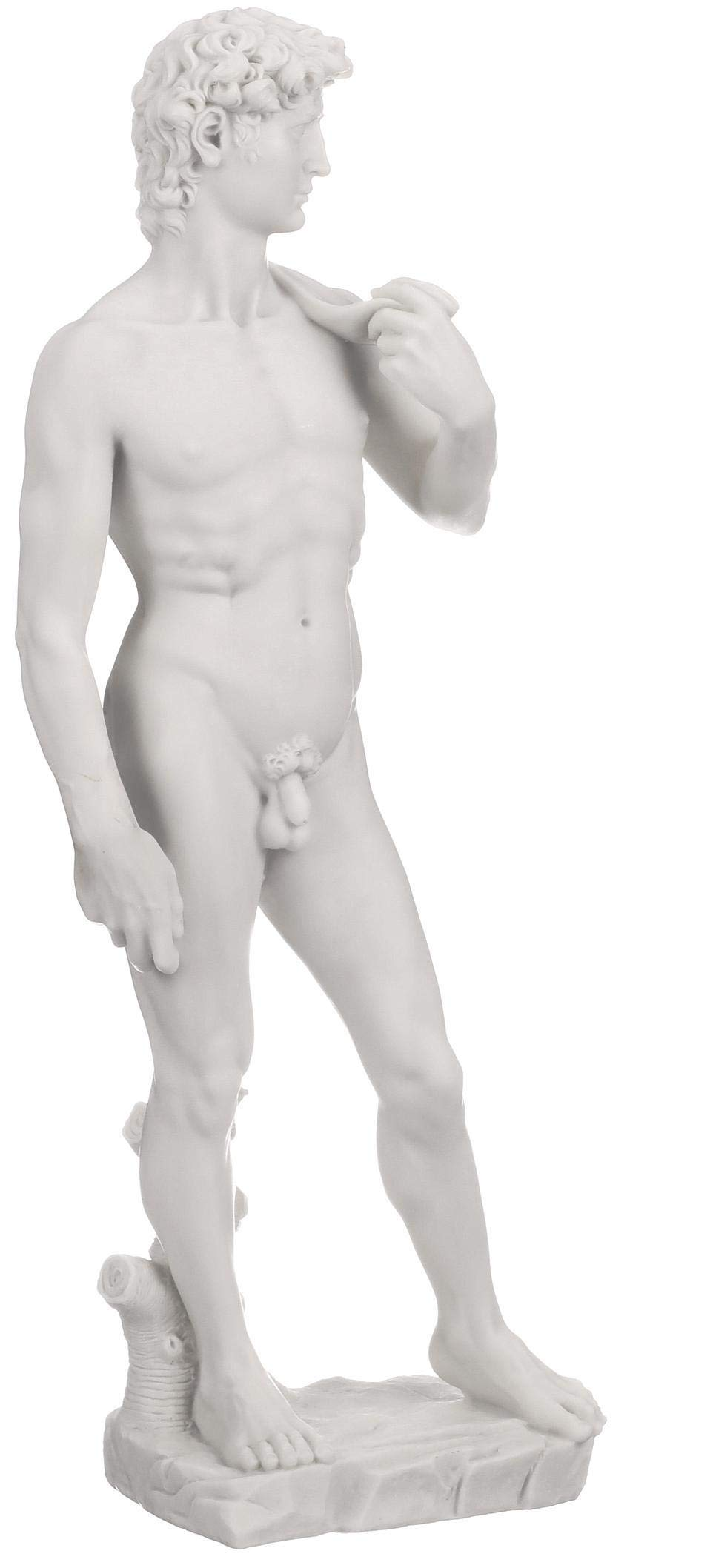 Design Toscano Michelangelo's David Statue, Medium, 19 Inch, Bonded Marble Polyresin, White