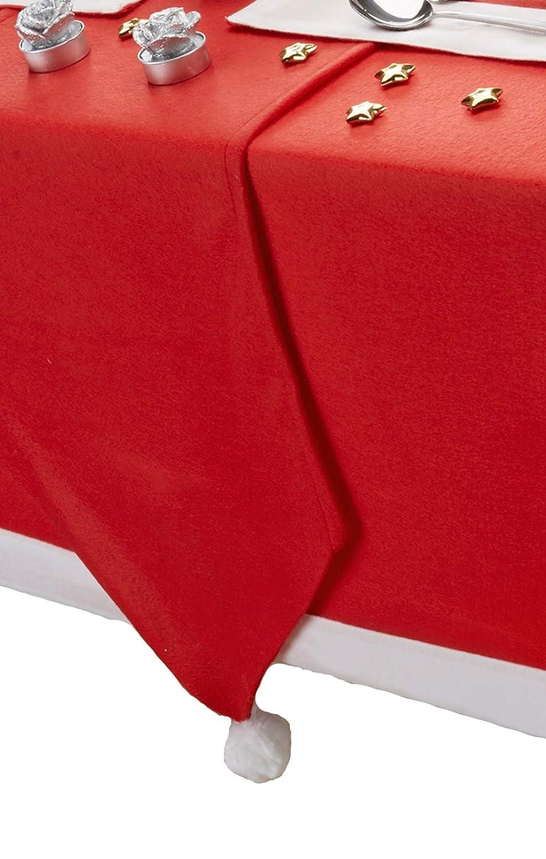 CHRISTMAS SANTA'S TABLE RED WHITE FLEECE POM POM TABLE RUNNER 13