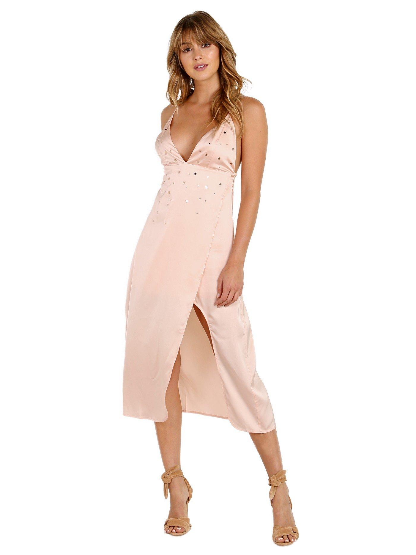 For Love & Lemons Twinkle Midi Dress Blush