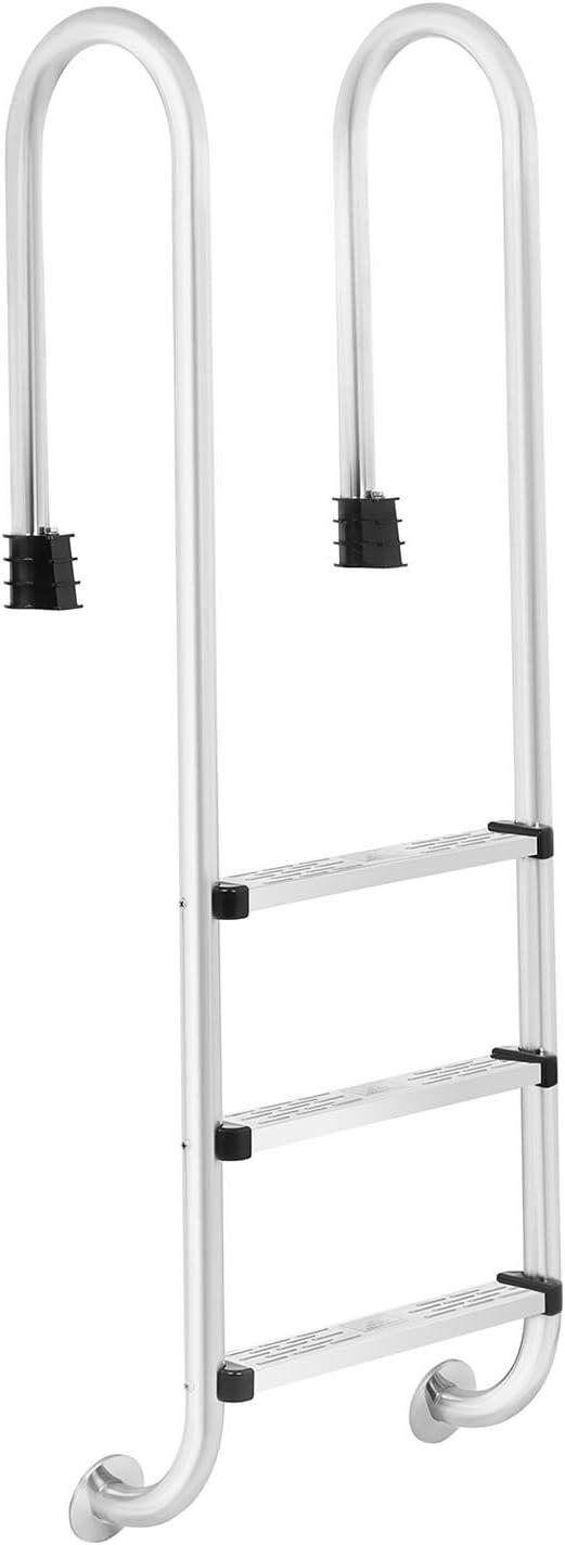 Singercon PL-1583 Escalera para Piscina en Acero Inoxidable con 3 Peldaños (capacidad de carga de 150 kg, distancia entre peldaños 25 cm): Amazon.es: Jardín