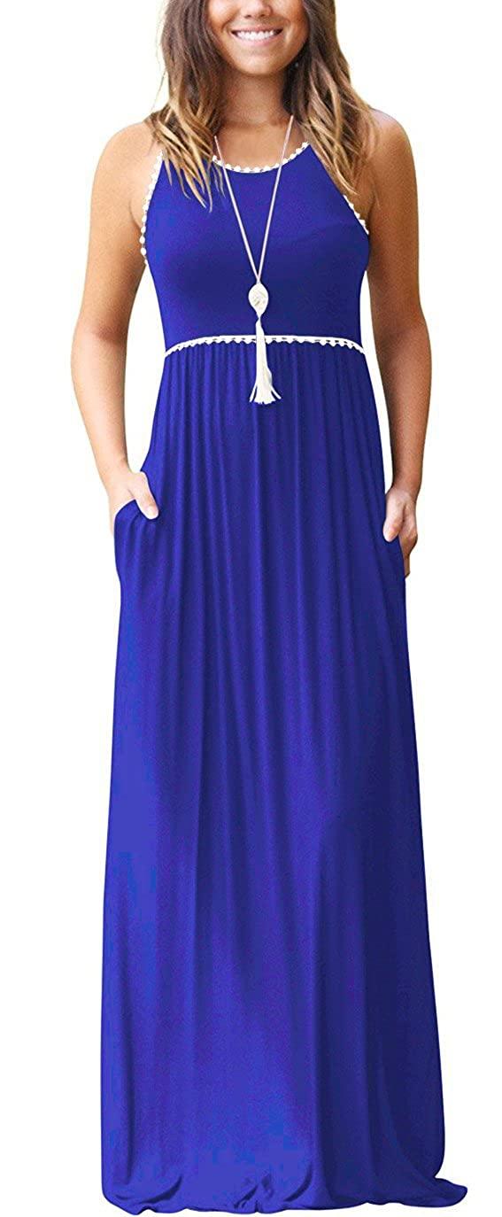 01 Royal bluee WEACZZY Women's Sleeveless Loose Plain Vacation Days Maxi Dresses Casual Long Dresses with Pockets