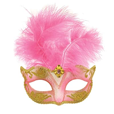 Ladies Black Red Pink Blue Purple Masquerade Mardi Gras Festival Carnival Fancy Dress Costume Feather Mask (Baby Pink): Clothing