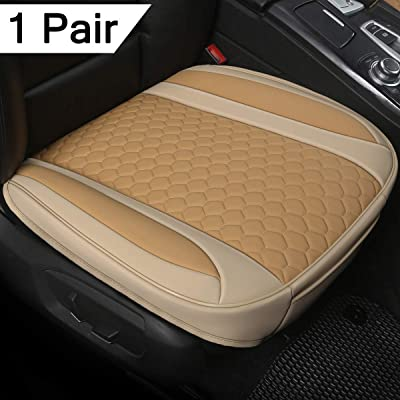 Black Panther 1 Pair Luxury PU Leather Car Seat Covesr for Front Seats (Bottom),Compatible with 90% Vehicles, Mixed Beige (21.26×20.86 Inches): Automotive