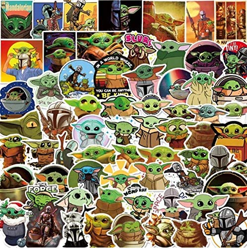 Disney Baby Yoda Stickers, Waterproof Sticker for Laptop, Water Bottle, Car Cup Compute, Guitar, Skateboard Luggage, Kid Gifts (50 pcs in a Pack)