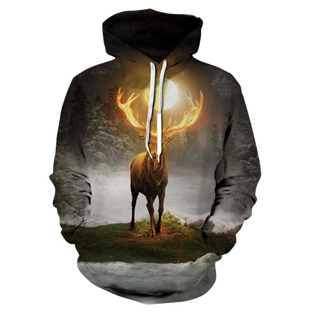 Hycsen 3D Hoodies Lion 3D Printed Sweatshirt Snow Lion Hoodies Sweatshirt DX061