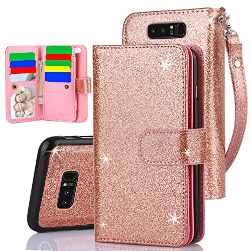 TabPow Galaxy Note 8 Case, 10 Card Slot - ID Slot,Button Wallet Folio PU Leather Case Cover Detachable Magnetic Hard Case Samsung Galaxy Note 8 (2017 Release) - Glitter Rose Gold