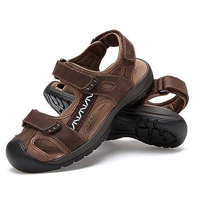 ZHShiny Männer Leder Sandalen Geschlossene Zehe Bequeme Schuhe Mode Strand Sommer Outdoor Schuhe,Schwarz,EU42 KPinHm2