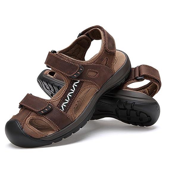 ZHShiny Männer Leder Sandalen Geschlossene Zehe Bequeme Schuhe Mode Strand Sommer Outdoor Schuhe,Schwarz,EU44 JRlhU8jejg