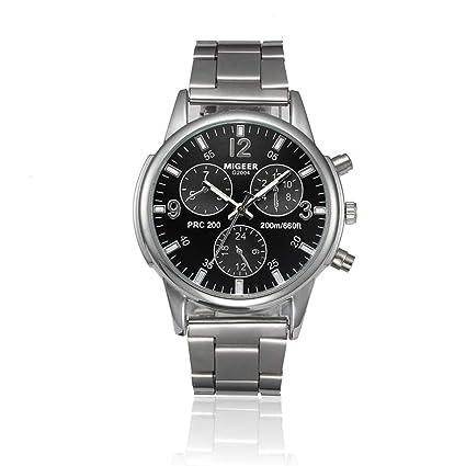 Amazon.com: Relojes de acero inoxidable de lujo para hombre ...