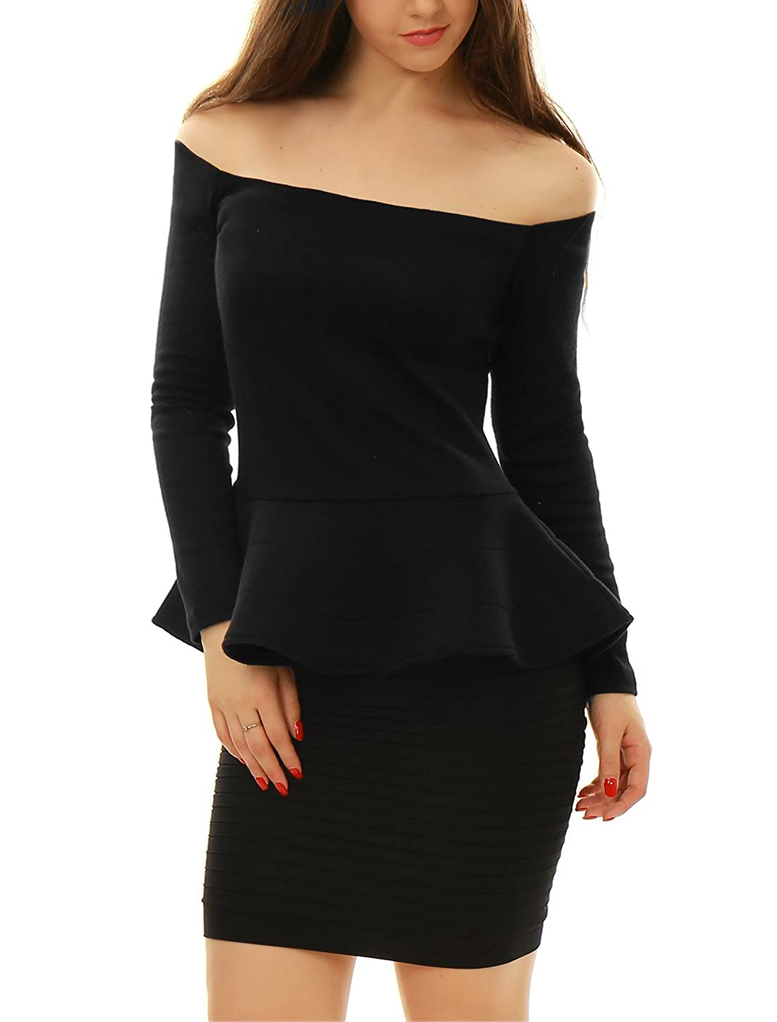 3aa66fa0f52cbc Allegra K Women s Off Shoulder Long Sleeves Slim Fit Peplum Top at Amazon  Women s Clothing store