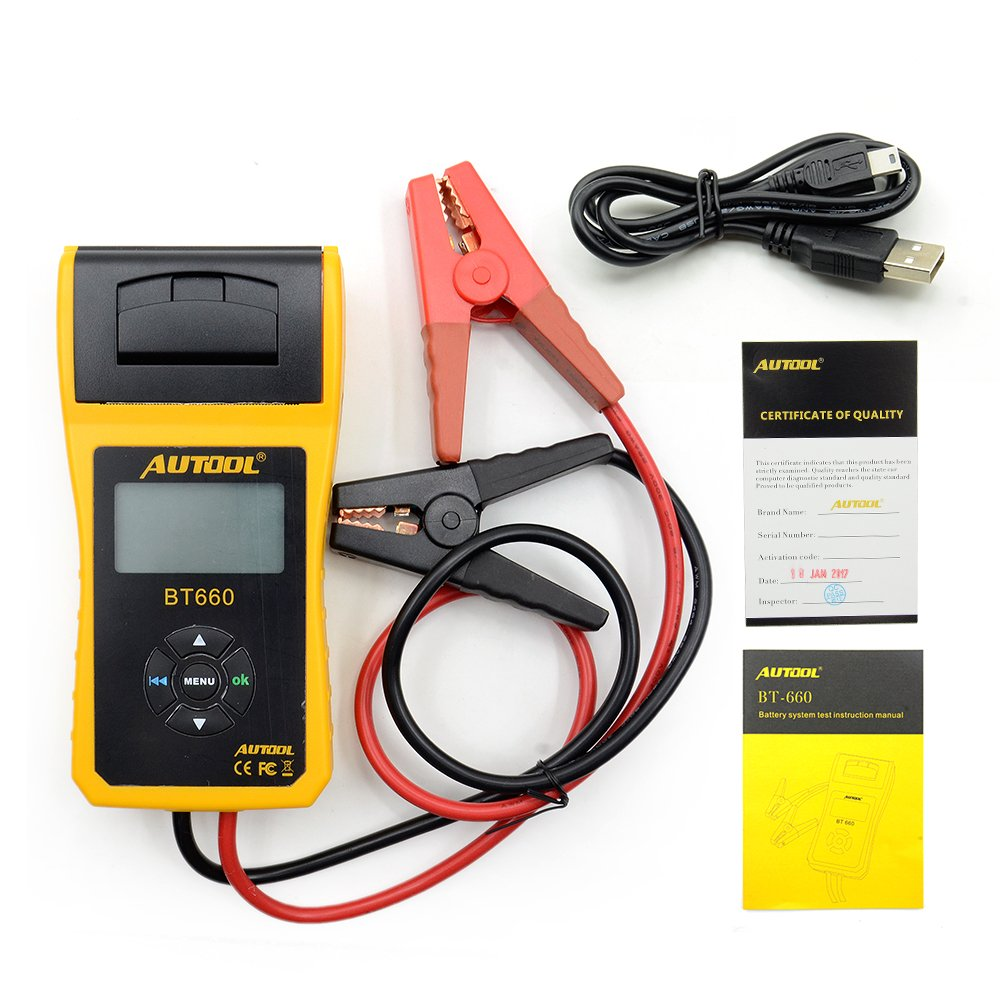 AUTOOL Automotive Battery Tester 12V/24V Car Battery System Tester Cranking and Charging Test ystem Analyzer Scan Tool with Printer (BT-660) by AUTOOL (Image #7)